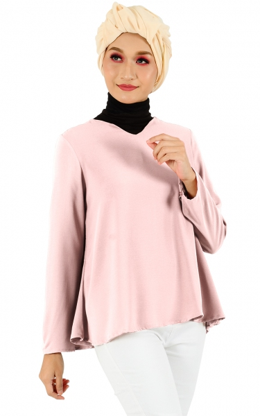 ADELA FLARE BUTTON TUNIC - BLUSH