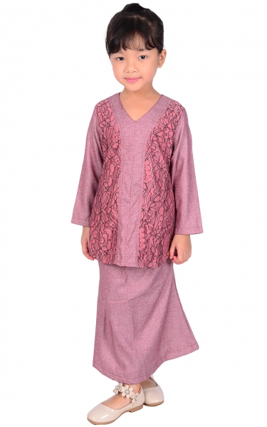 (FAMILY SET) KIDS BAJU KURUNG LACE PRISCA - DUSTY PINK