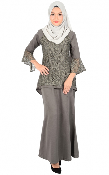 (FAMILY SET) BAJU KURUNG LACE MOLLY - DARK GREY