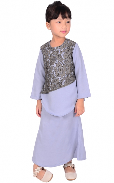 (FAMILY SET) KIDS BAJU KURUNG LACE NURIS - PASTEL BLUE