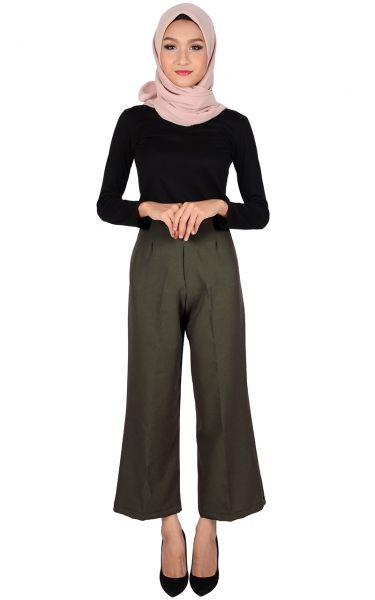 STELLA WIDE LEGGED PANTS - STONE GREY