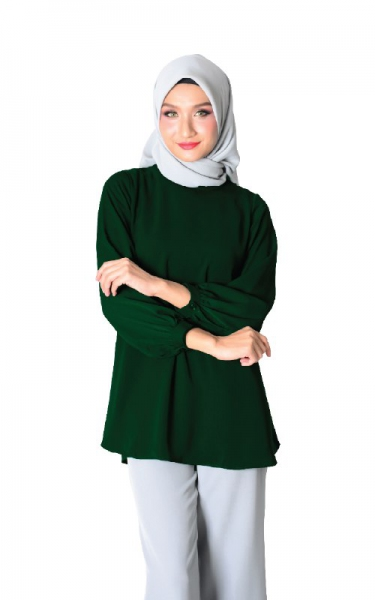 CHLOE BUBBLE SLEEVE BLOUSE - EMERALD