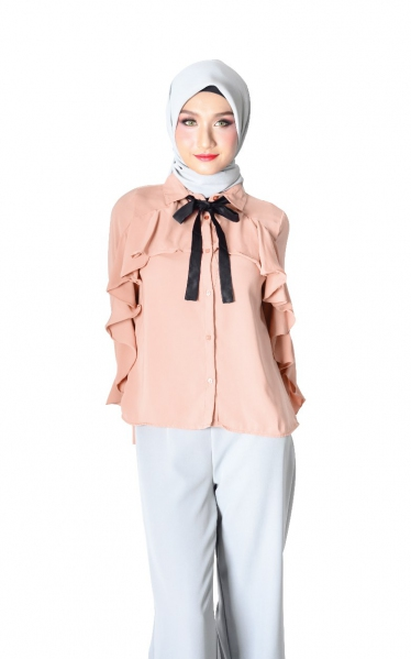 FYA RUFFLED BLOUSE WITH BOW - SALMON