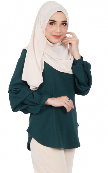 EMMA RUFFLED PUFF SLEEVE BLOUSE - EMERALD