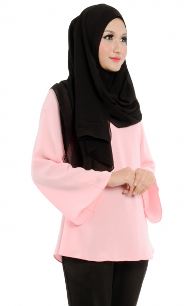 CAMILA TRUMPET SLEEVE BLOUSE - PINK