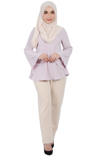 CAMILA TRUMPET SLEEVE BLOUSE - PINK LAVENDER