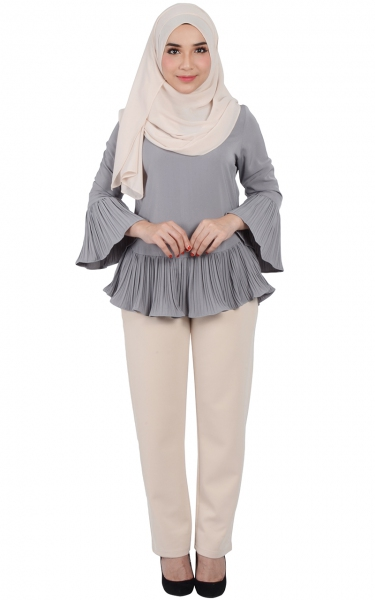 JACINTA CRIMPED BLOUSE - GREY