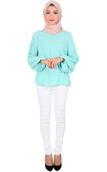 ASTER BUBBLE SLEEVE BLOUSE - MINT GREEN