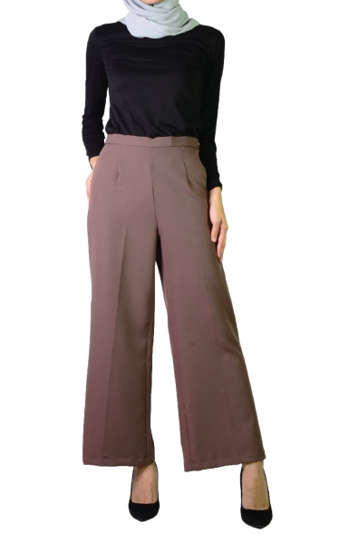 QISTY PALAZO PANTS - DARK BROWN