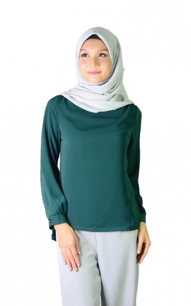 LALUNA BUBBLE SLEEVE BLOUSE - EMERALD