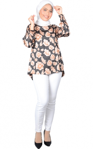 SARA PUFFY SLEEVE BLOUSE - BLACK