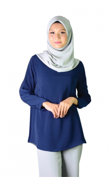 QISHA FLARED BLOUSE - NAVY BLUE