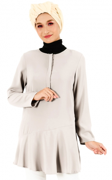 LENIA FLARE BUTTON TUNIC - GREY