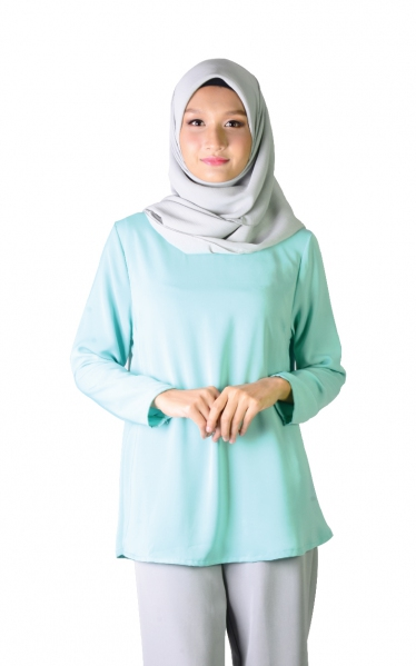 QISHA FLARED BLOUSE - MINT GREEN