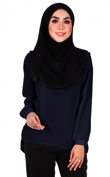 BELVA BUBBLE SLEEVE BLOUSE - NAVY BLUE