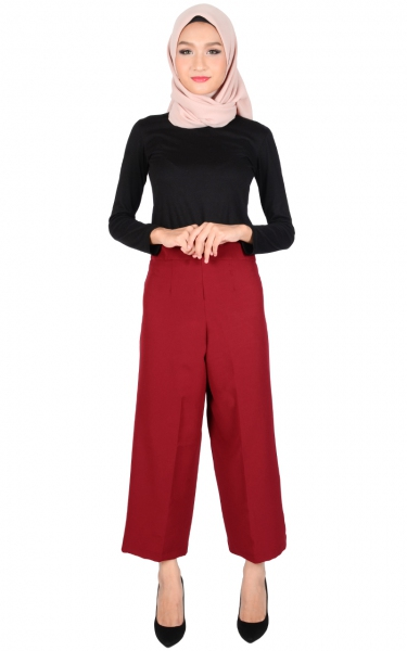 ADELYN WIDE LEGGED PANTS - MAROON