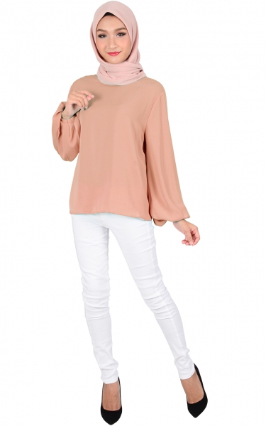 ASTER BUBBLE SLEEVE BLOUSE - DUSTY PINK